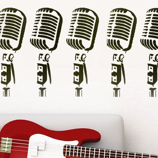 Retro Microphone stencil, microphone art, painting stencils, home decor, wall stencils, paint any surface, size options XS-XL