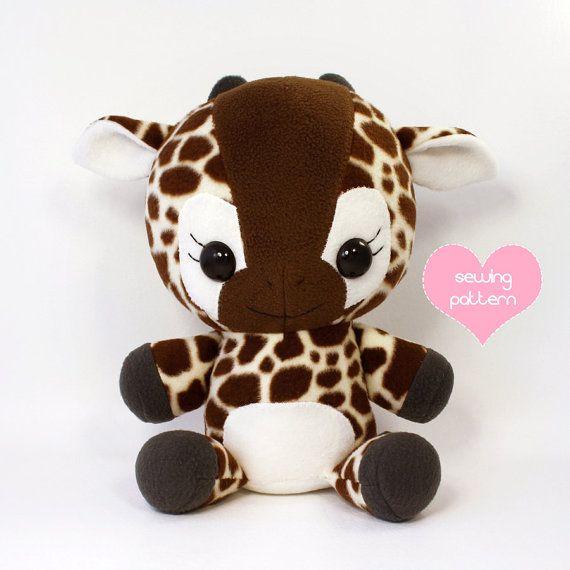 """Plushie Sewing Pattern PDF Cute Soft Plush Toy - Lulu Baby Giraffe Cuddly Stuffed Animal 16"""""""