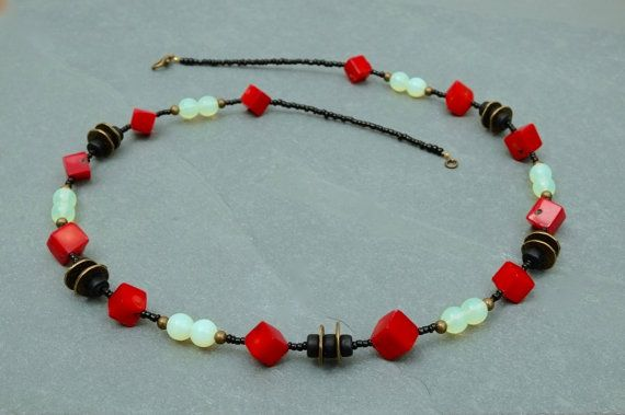 Rich red and black necklace.  by BijoubeadsLondon