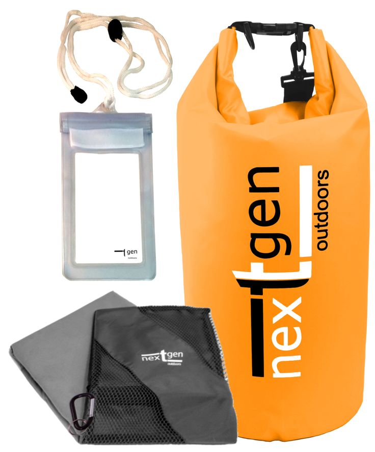 Our NextGen Outdoors dry bag, cell phone pouch and microfiber towel bundle. Click the picture to go to our Amazon.com page. #nextgen_outdoors #drybag