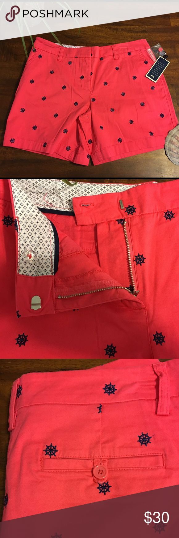 NEW Women's Nautical⚓️ shorts New with tags Nautical shorts. Blue embroidery on bright coral shorts. From a smoke free, pet free home British Khaki Shorts