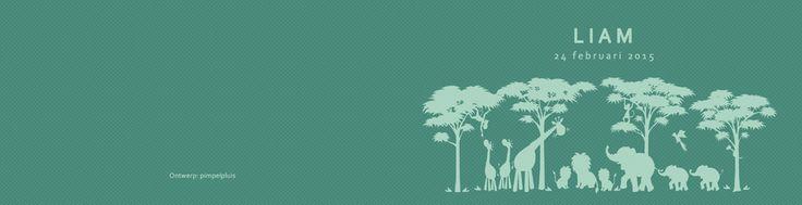Geboortekaartje Liam - dubbel kaartje - binnenkant - Pimpelpluis - https://www.facebook.com/pages/Pimpelpluis/188675421305550?ref=hl (# dieren - Afrika - olifant - giraf - leeuw - silhouet - origineel)
