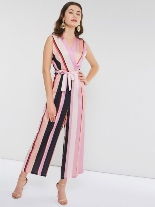 Casual Lace-Up Stripe Full Length Wide Legs Slim Women s Jumpsuits   musthavefashion  tendancesmode  TrendingNow  inspiration  Fashionista   fashion ... cf5f7dc3be