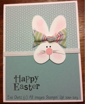 handmade Easter card ... sweet punch art Easter Bunny head on grays ... pink accents ... heart head ... Stampin' Up!
