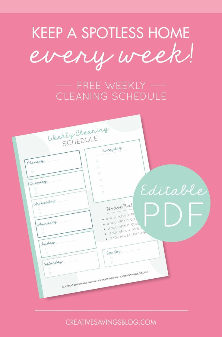 Download this weekly cleaning schedule for personal use only thank - Eliminate Household Overwhelm With A Weekly Cleaning Schedule That Works This Checklist Is Completely Editable