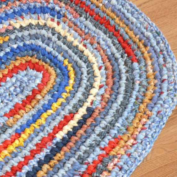 Crochet Oval Rug Lovely Crocheted Oval Rag Rug Blues Reds And Golden By Of Charming 49 Images Crochet Oval Rug Rag Rug Crochet Rag Rug Oval Rugs