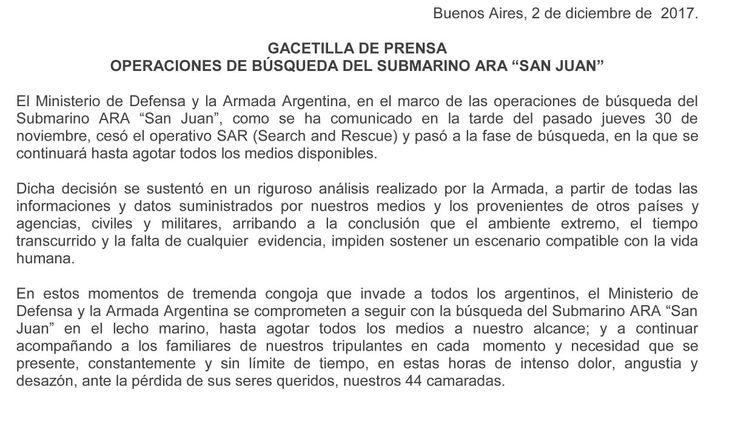 Noticias sobre Ara San Juan en Twitter - 02.12.2017