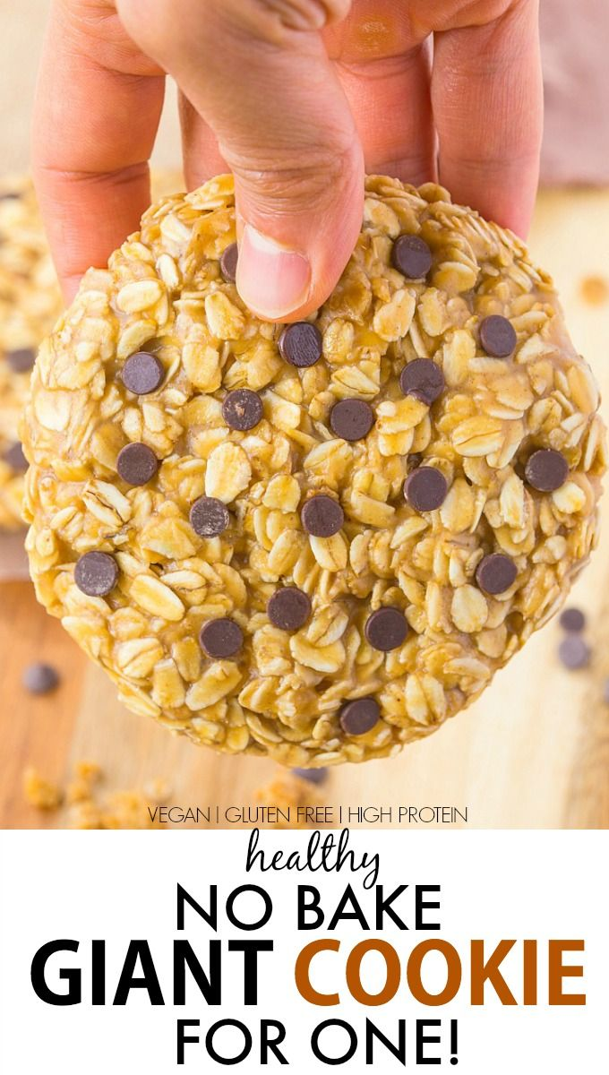 Healthy No Bake Giant Cookie for ONE recipe- Delicious, chewy and portable, these quick and easy cookies have NO butter, oil or flour and are packed full of protein! {vegan, gluten free, refined sugar free}