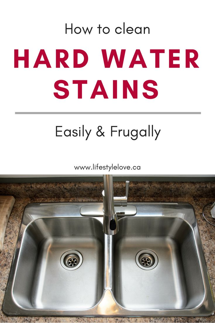How to clean hard water stains easily and frugally using vinegar! Cheap, easy, cleaning hack.  www.lifestylelove.ca #cleaningtips #clean #kitchenhack