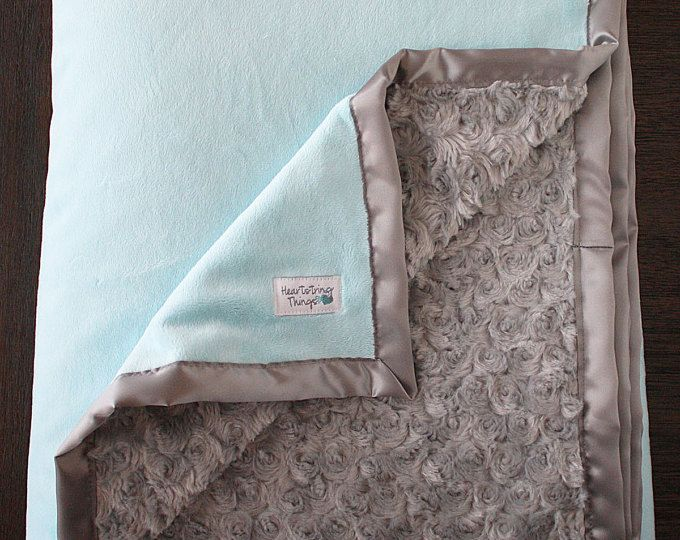 Minky Blanket, baby girl, blanket for girl, aqua and grey, baby girl gift, baby shower, grey and teal, Lattice Ruffle Blanket, aqua and grey