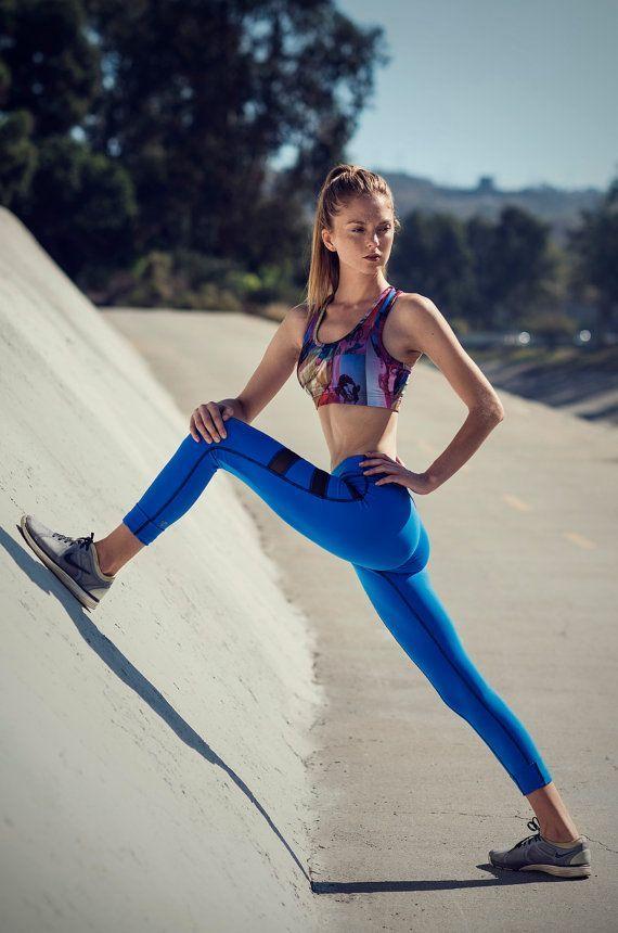 Similar Items like Womens Blue Leggings, Blue Yoga Pants, Blue Compression Tights, High Waist Leggings, Womens Workout Pants, Yoga Legging, Leggings, B014 on Etsy 2