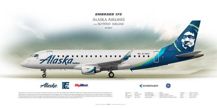 Embraer ERJ-175 Alaska Airlines opb SkyWest N178SY | Airliner Profile Art Prints | www.aviaposter.com | #airliners #aviation #jetliner #airplane #pilot #aviationlovers #avgeek #jet #ejet #embraer #erj175 #alaska