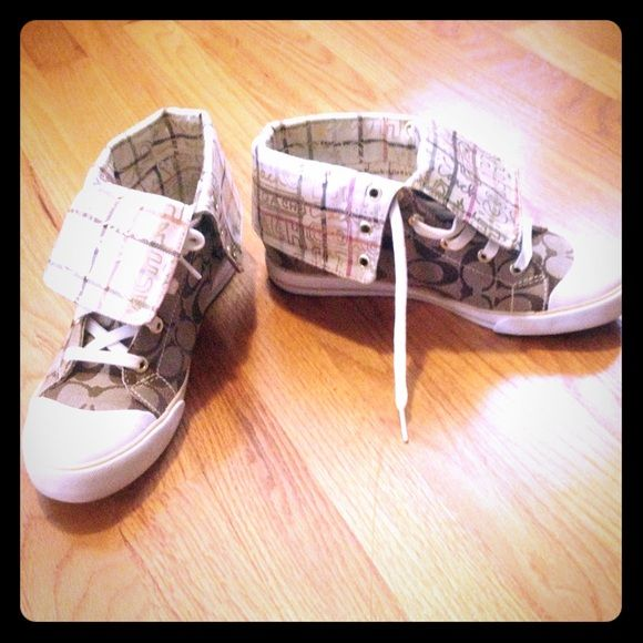 Coach canvas Chucks Fun pair of chucks for stylish weekends! I bought these shoes from the Coach store and am sad to say I only wore them once and just found them in the closet! Time for someone else to enjoy!!! Coach Shoes