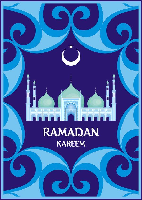 ramadan greeting card blue vector 02 free eps file ramadan