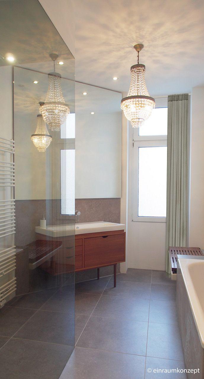 Bad, Bathroom, Spiegel, Mirror, Berlin, Einraumkonzept, Planung, Interior Design, Waschtisch, Lampe, Boden, Fliesen, Beton, Aquaputz, Stein, www.ein-raumkonzept.de