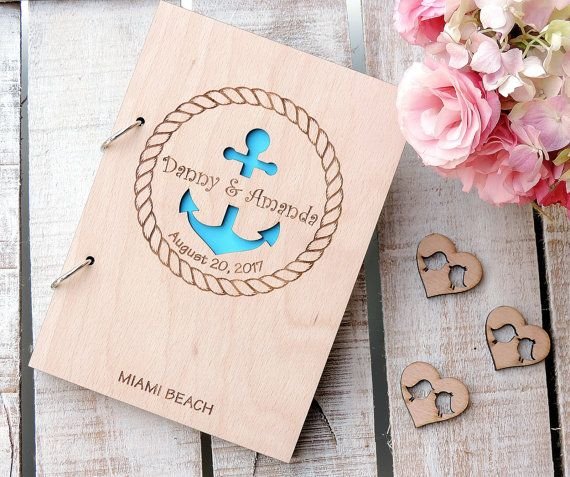 Anchor Wedding Guest Book Rustic Wedding Guest Book Wood