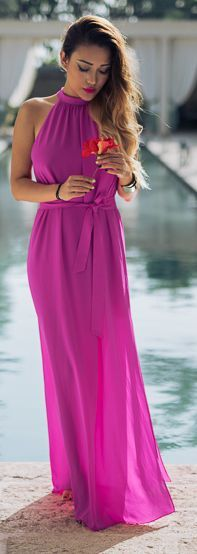 Not Jess Fashion Hot Pink Halter Maxi Dress