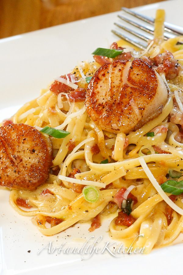 Carbonara with Pan Seared Scallops. Replace noodles with zoodles!