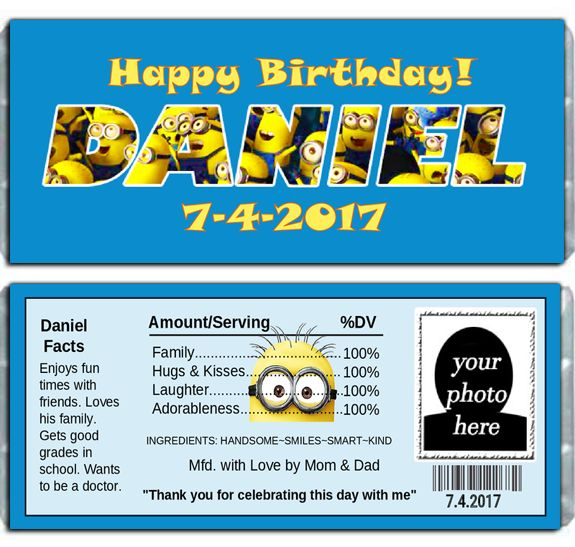 Celebrating a Despicable Me birthday is easy when you have your chocolate candy bar favors wrapped in our personalized despicable me chocolate candy bar wrappers. Designed your child's name in Despicable Me letters against their favorite color background. So, don't forget to invite those adorable minions.