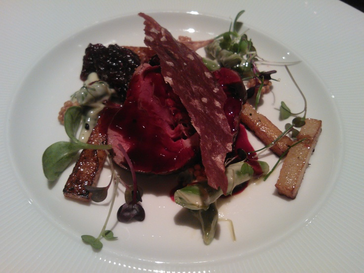 Venison    Roasted rutabaga, french beans and mustard salad, onion jam, local berry wine and beetroot sauce  Ö, Tallinn