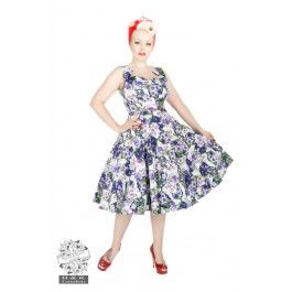 Robe Pin-Up Rétro 50's Rockabilly Floral Blanc Mauve
