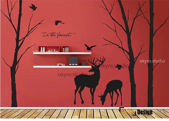 Lovely Deer Forest Vinyl wall stickerwall decal tree decals wall murals art nursery wall decals- animalNature- Fall birds