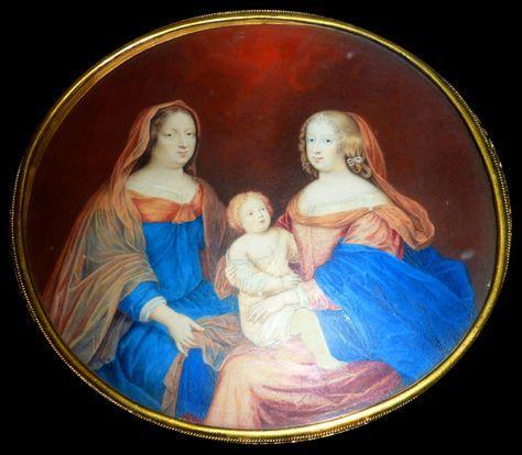 Marie-Thérèse d'Autriche, reine de France, avec sa tante et belle-mère Anne d'Autriche et son fils le Grand Dauphin, miniature d'après Beaubrun