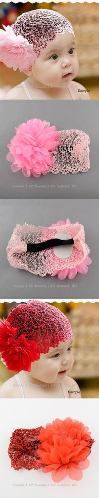 Flower Elastic Baby Girls Headbands Fashion Headwear For 6 Months to 6 Years Cute Girl Apparel Accessories Pink/Red