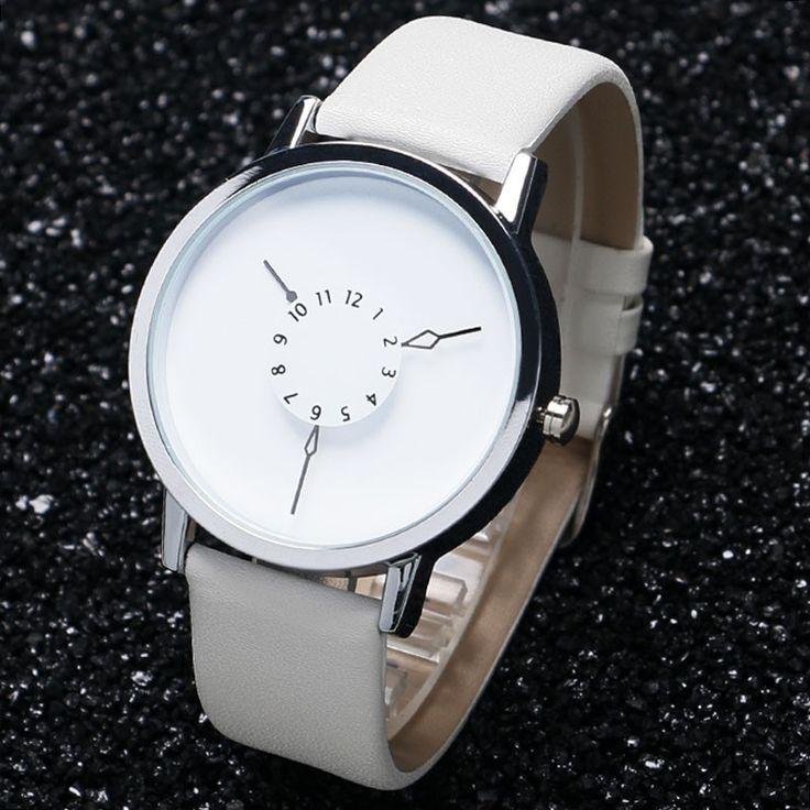Leather Watch Women dress watches hour clock men fashion Casual watch Unisex Quartz watch
