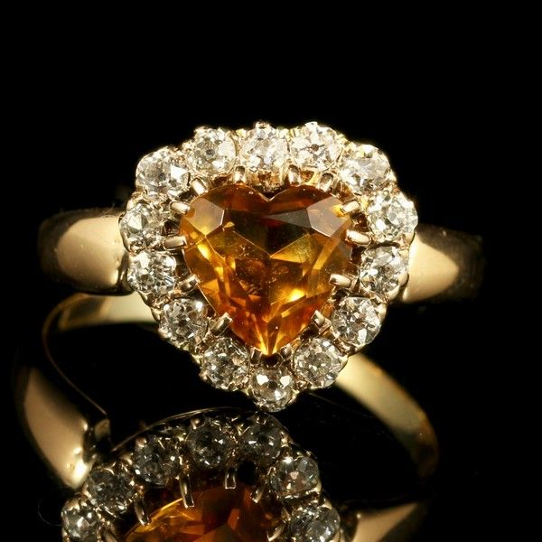 Antique Victorian Citrine Heart Diamond Ring 18ct Gold