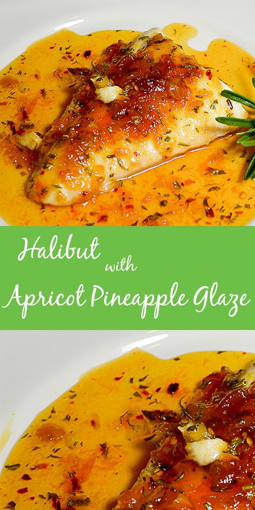 Halibut with Apricot Pineapple Glaze recipe. This delightful glaze made with apricot-pineapple preserves works beautifully with baked halibut - great for chicken too!