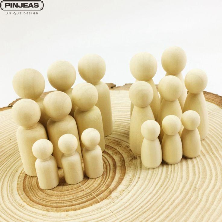 Pinjeas Семья Peg Куклы (55 мм 35 мм) best детские подарки на день рождения ручной работы клена Неокрашенный свадебный торт Куклы Декор Куклы Игрушечные лошадки купить на AliExpress