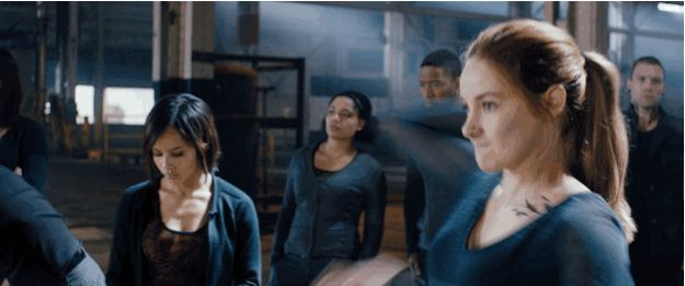 """When Tris throws the knife. 