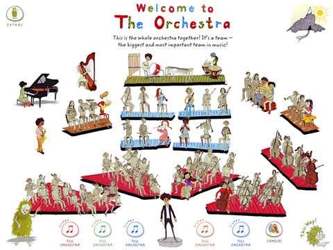 """My First Orchestra"" teaching app: interactive introduction to the orchestra, allows exploration of all of the instruments."