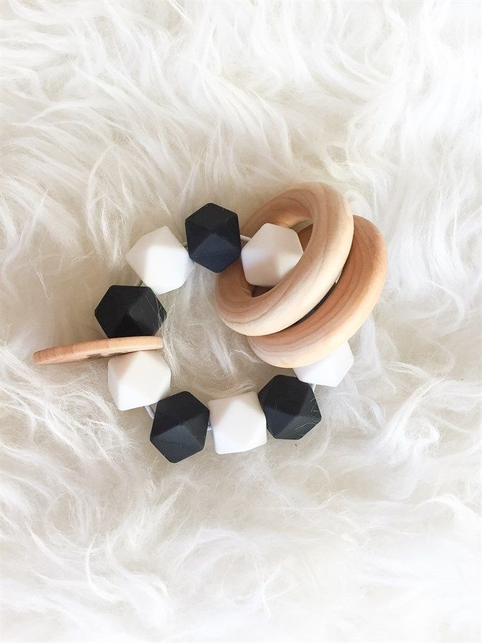 Makes a perfect baby shower gift! Wooden Teether Rattle