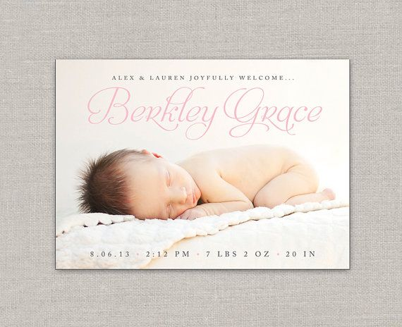 Hey, I found this really awesome Etsy listing at https://www.etsy.com/listing/164948523/baby-girl-birth-announcement-berkley