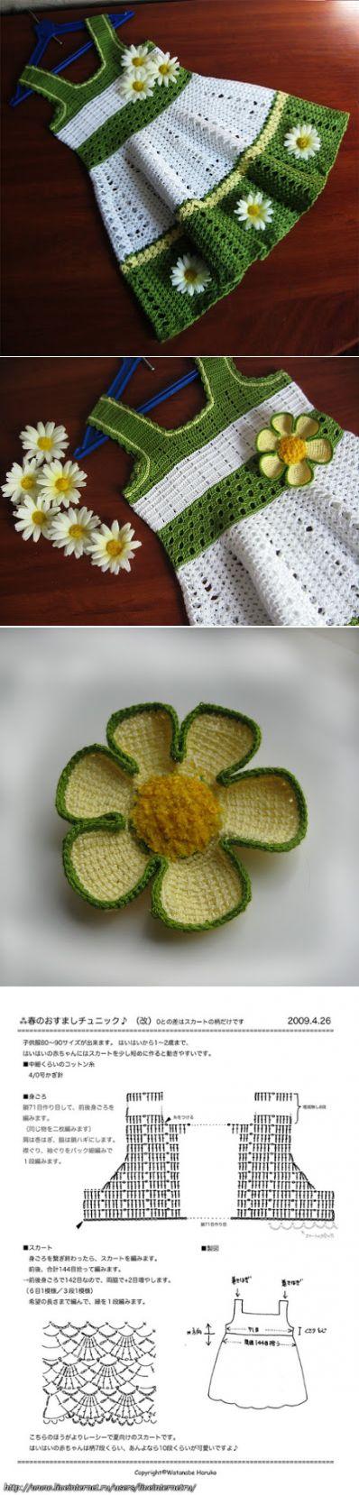 Вязания рукоделия: вязание крючком платье для девочки