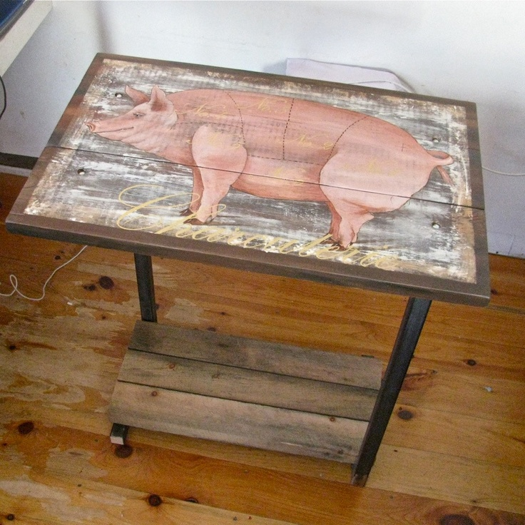 Kitchen Island Original Painting Charcuterie Pig On Reclaimed Rustic Solid  Wood With Metal Legs