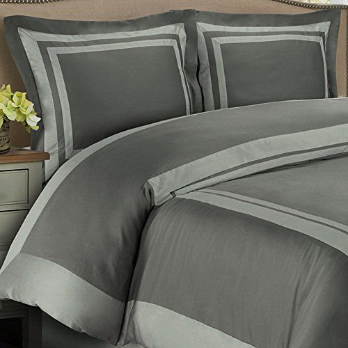 #wow Give an elegant Hotel look to your bedroom with this 3 piece #Modern Hotel Collection Style Dark Grey/Silver Trim Patterned Bedding Duvet Comforter Cover Se...