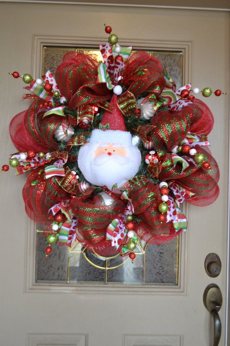 Santa+Mesh+Wreath+by+kristenscreations+on+Etsy,+$90.00