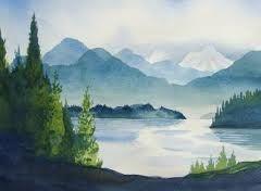 Watercolor landscape idea. Reminds me of Pacific northwest.
