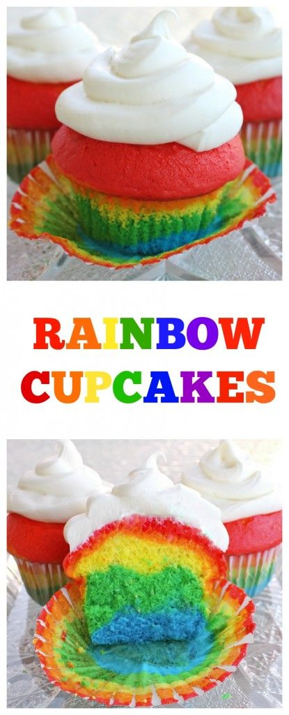 Easy Rainbow Cupcakes - the kids love these. http://the-girl-who-ate-everything.com