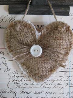 Hanging burlap hearts.  No instructions, just inspiration.