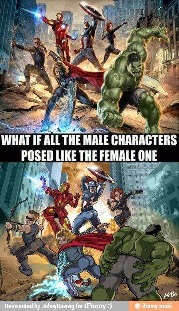 The Avengers - what if they all posed like Scarlett Johannson :D