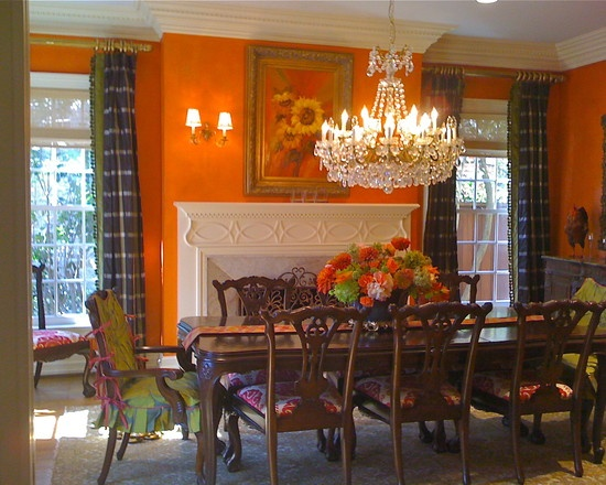 Kim Armstrong Interior Design  Traditional Orange Dining Room