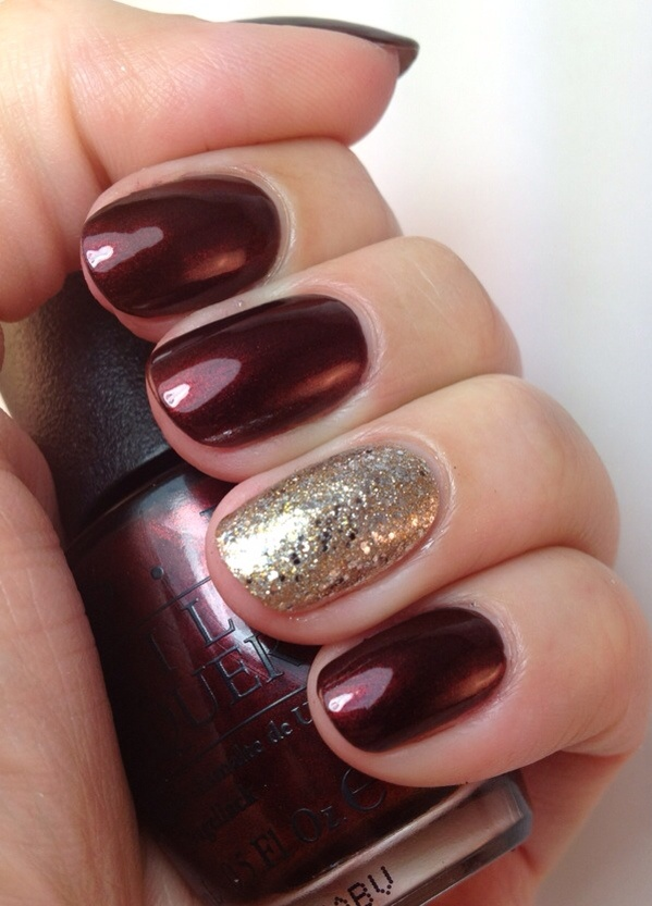 OPI Germanicure, accent is Barielle Gold Digger topped with Orly Halo