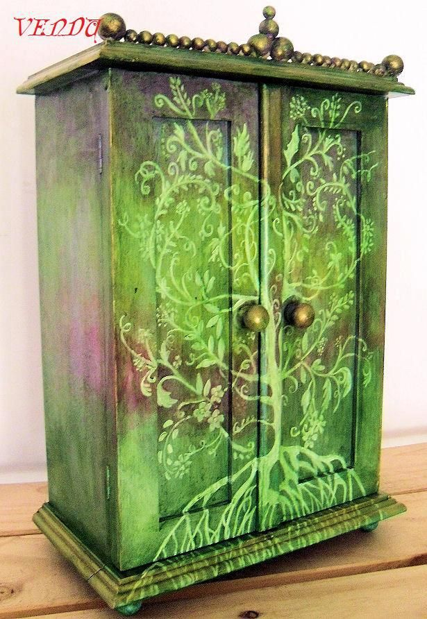 colorful painted furniture. tree of life painted mini wardrobe jewelry box stunning idea for painting furniture colorful t
