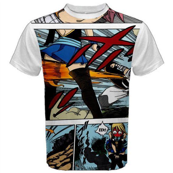 Fairy Tail, T-Shirt, Anime, Manga, Natsu, Lucy, White, Shirt, Cosplay, Anime Shirt, Men's Shirt, TShirt, Gift, Kawaii, Fairytail, Cute, Erza