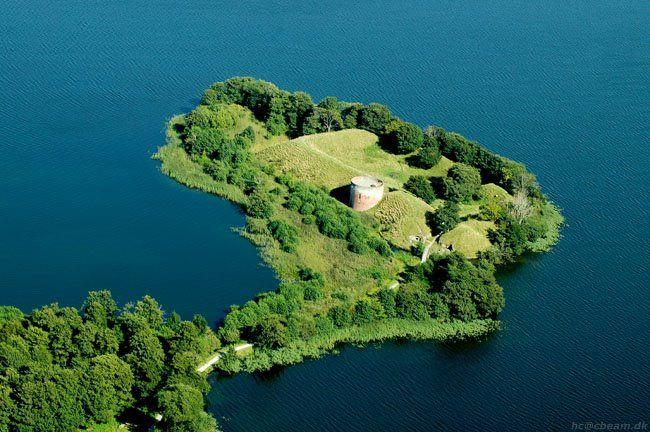 Hald Castle Ruin, Aerial - Viborg, Denmark