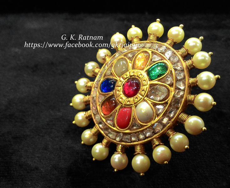 A go-with-all navratan cocktail ring with double coated pearls   Kundan Meena Jewelry   Bridal Jewelry   Traditional Indian Jewelry   Wedding Jewelry
